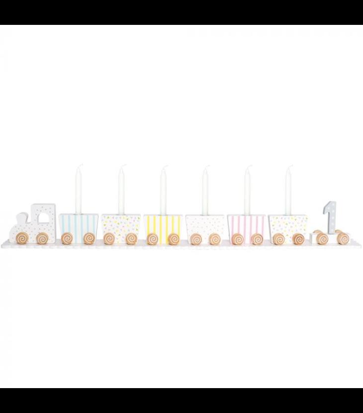 Ljusstake födelsedagståg pastell