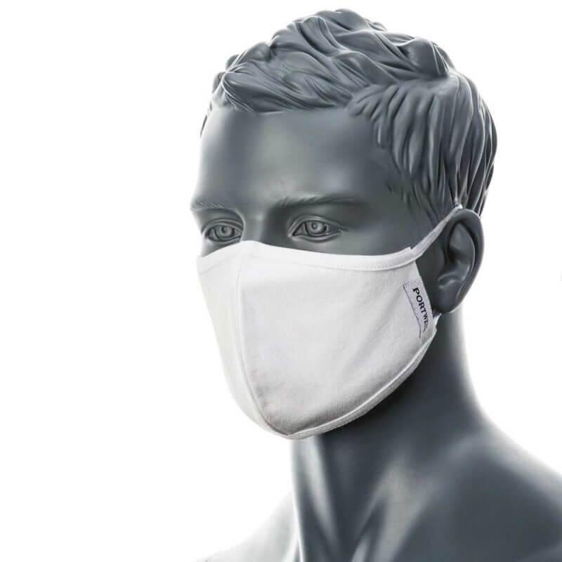 Munskydd i tyg – antimikrobisk ansiktsmask vit på skyltdocka