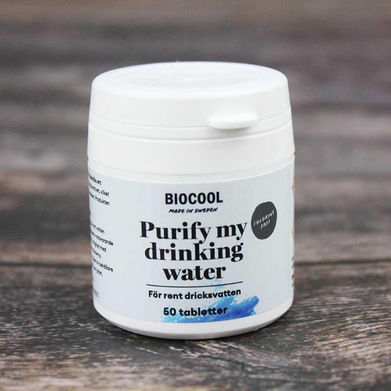 Vattenreningstabletter - Biocool Purify my drinking water 50 tabletter miljöbild
