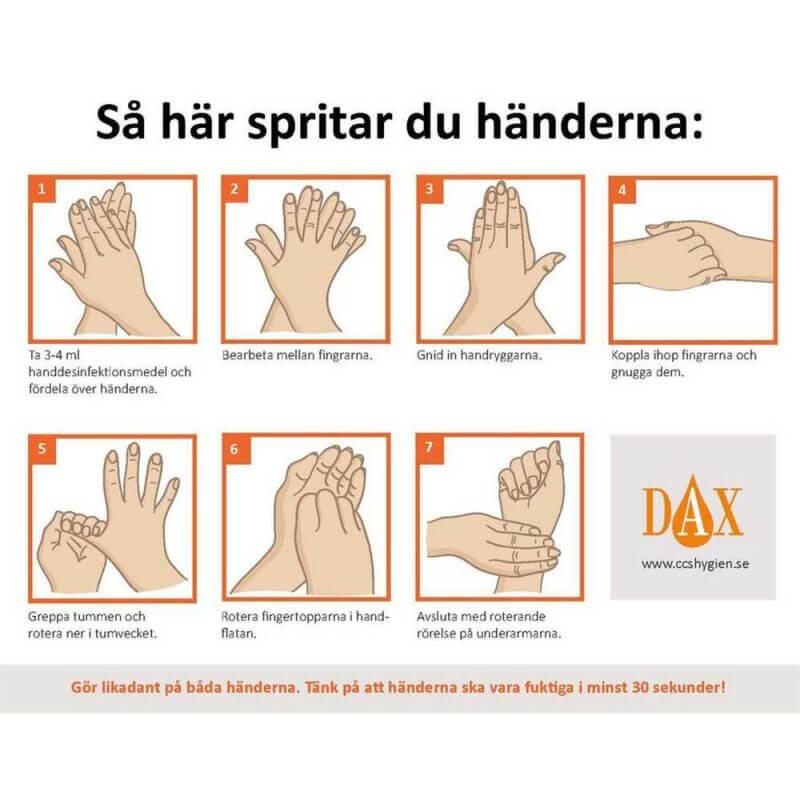 DAX Clinical Handdesinfektion 500 ml, instruktioner