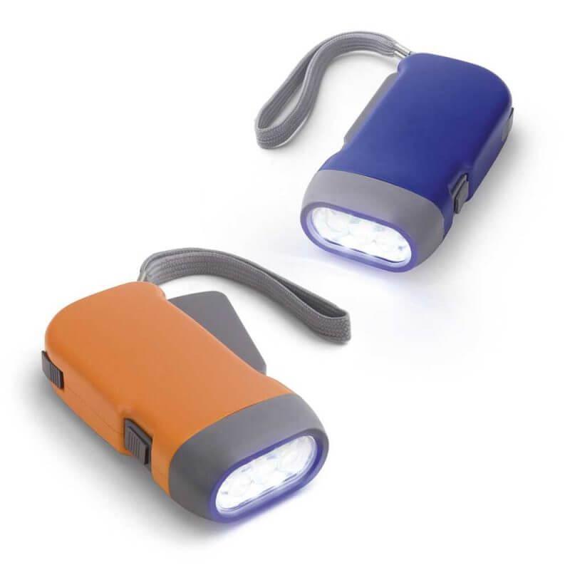 Dynamolampa med 3 LED-lampor orange och blå