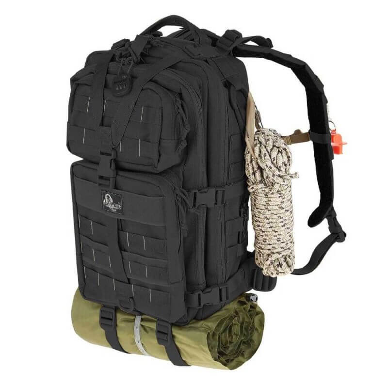 Maxpedition Falcon-III taktisk ryggsäck 35 liter – Bug Out Bag, med ett rep fäst på sidan