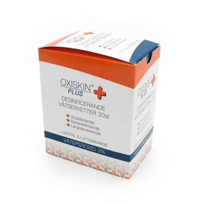 Oxiskin Plus desinficerande våtservetter i låda