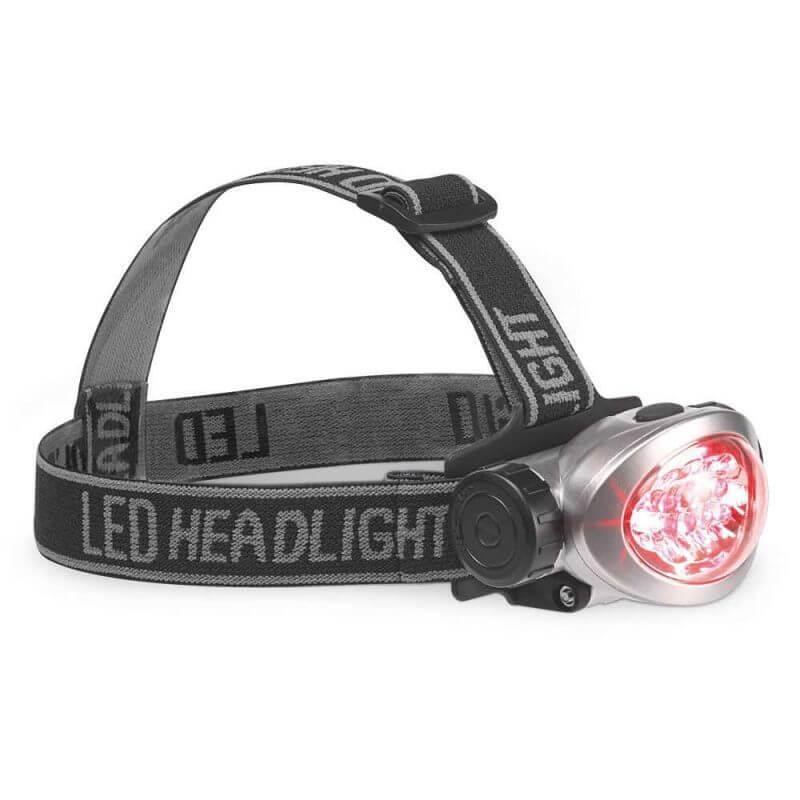 Pannlampa LED med batterier rött ljus
