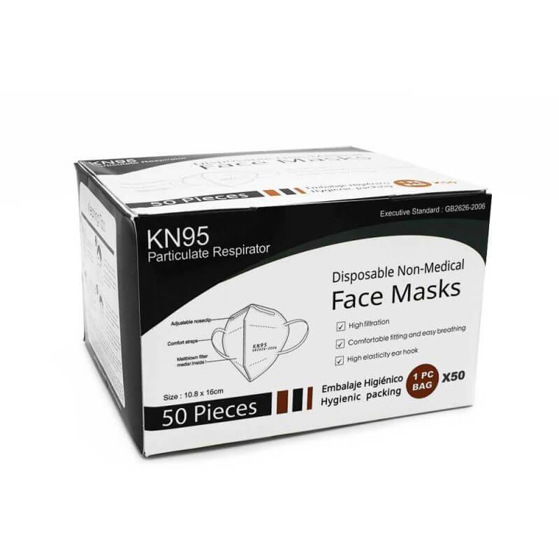 Andningsskydd KN95 självfiltrerande mask med 5 lager, 50 st i en låda