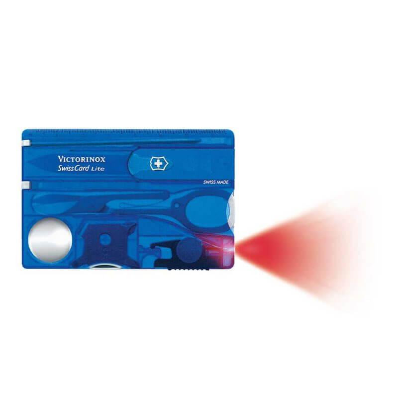 Victorinox SwissCard Lite blå –verktygskort med rött ljus